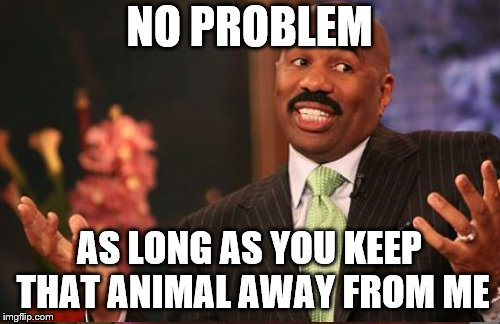 NO PROBLEM AS LONG AS YOU KEEP THAT ANIMAL AWAY FROM ME | made w/ Imgflip meme maker