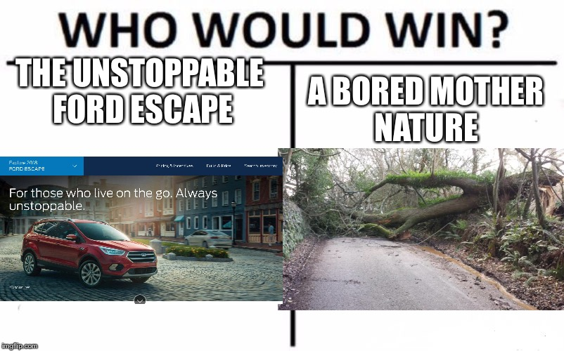 Who Would Win? Meme | THE UNSTOPPABLE FORD ESCAPE A BORED MOTHER NATURE | image tagged in memes,who would win | made w/ Imgflip meme maker