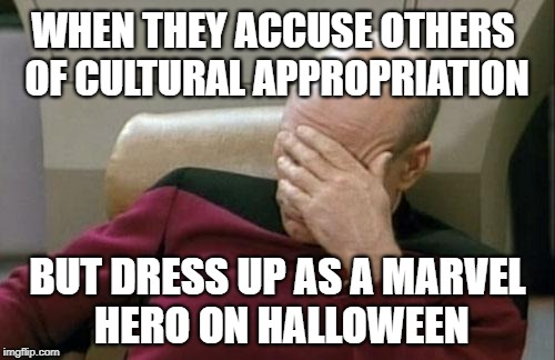 Captain Picard Facepalm - Cultural Appropriation | WHEN THEY ACCUSE OTHERS OF CULTURAL APPROPRIATION BUT DRESS UP AS A MARVEL HERO ON HALLOWEEN | image tagged in memes,captain picard facepalm,cultural appropriation,cultural marxism,hipocrisy,bigotry | made w/ Imgflip meme maker
