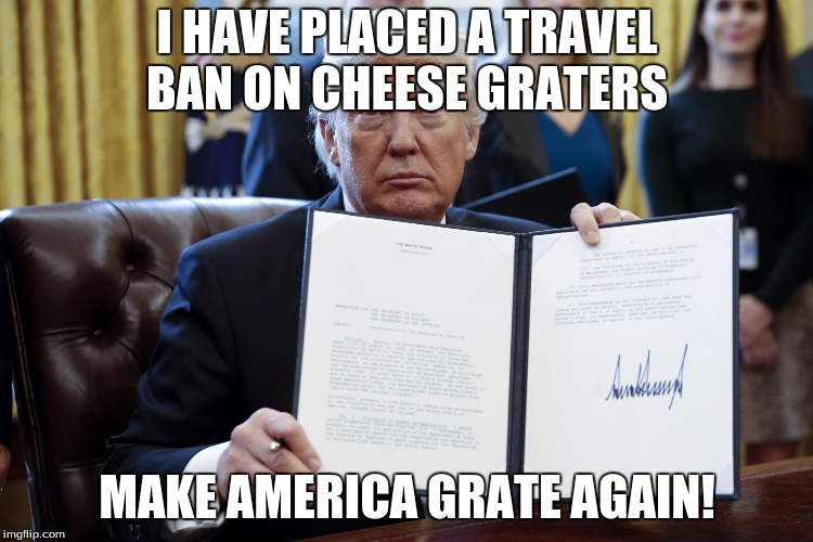 Donald Trump Executive Order | I HAVE PLACED A TRAVEL BAN ON CHEESE GRATERS MAKE AMERICA GRATE AGAIN! | image tagged in donald trump executive order | made w/ Imgflip meme maker