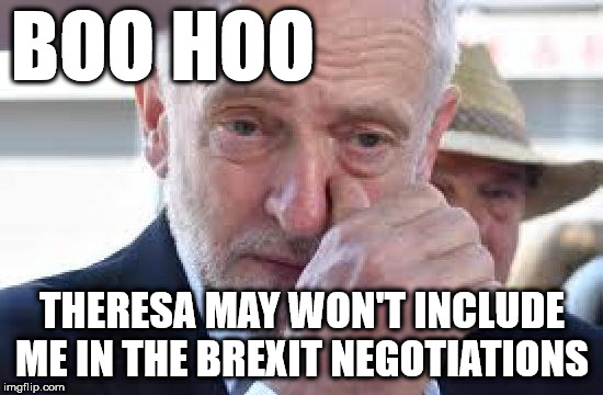 Theresa May - Corbyn - Brexit | BOO HOO THERESA MAY WON'T INCLUDE ME IN THE BREXIT NEGOTIATIONS | image tagged in corbyn cry,corbyn eww,party of hate,mcdonnell abbott,momentum,communism socialism | made w/ Imgflip meme maker