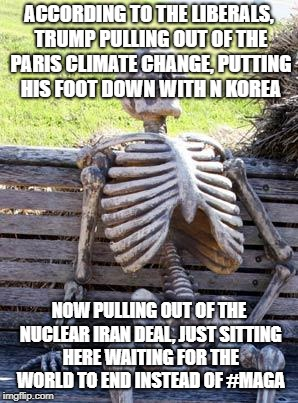 Waiting Skeleton Meme | ACCORDING TO THE LIBERALS, TRUMP PULLING OUT OF THE PARIS CLIMATE CHANGE, PUTTING HIS FOOT DOWN WITH N KOREA NOW PULLING OUT OF THE NUCLEAR  | image tagged in memes,waiting skeleton | made w/ Imgflip meme maker