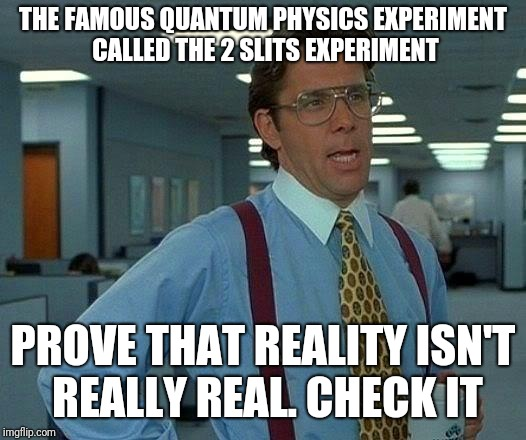 That Would Be Great Meme | THE FAMOUS QUANTUM PHYSICS EXPERIMENT CALLED THE 2 SLITS EXPERIMENT PROVE THAT REALITY ISN'T REALLY REAL. CHECK IT | image tagged in memes,that would be great | made w/ Imgflip meme maker
