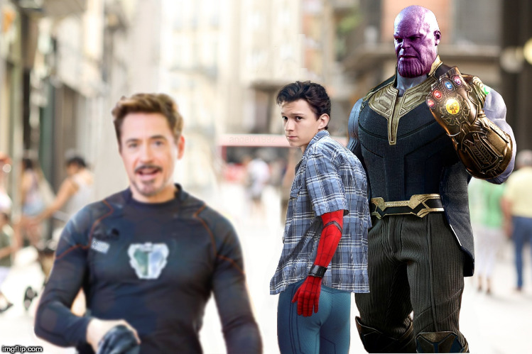 distracted boyfriend | image tagged in avengers,infinity war,tony stark,thanos,spiderman,ironman | made w/ Imgflip meme maker
