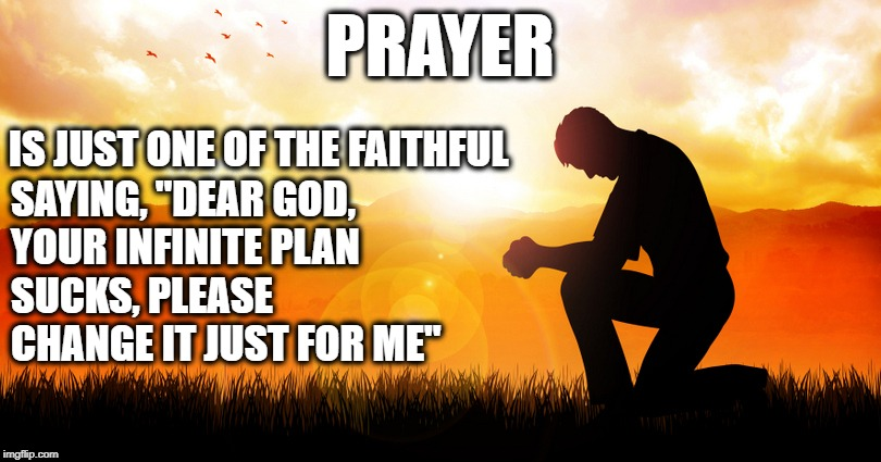 "God's Infinite Plan | PRAYER SAYING, ""DEAR GOD, YOUR INFINITE PLAN SUCKS, PLEASE CHANGE IT JUST FOR ME"" IS JUST ONE OF THE FAITHFUL 