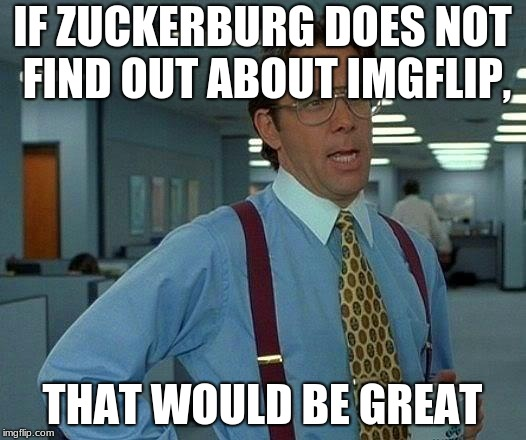 That Would Be Great Meme | IF ZUCKERBURG DOES NOT FIND OUT ABOUT IMGFLIP, THAT WOULD BE GREAT | image tagged in memes,that would be great | made w/ Imgflip meme maker