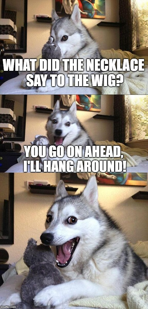 Bad Pun Dog Meme | WHAT DID THE NECKLACE SAY TO THE WIG? YOU GO ON AHEAD, I'LL HANG AROUND! | image tagged in memes,bad pun dog | made w/ Imgflip meme maker