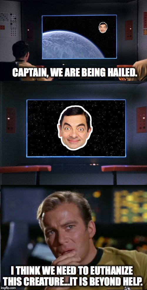 Wayward Alien | CAPTAIN, WE ARE BEING HAILED. I THINK WE NEED TO EUTHANIZE THIS CREATURE...IT IS BEYOND HELP. | image tagged in star trek | made w/ Imgflip meme maker