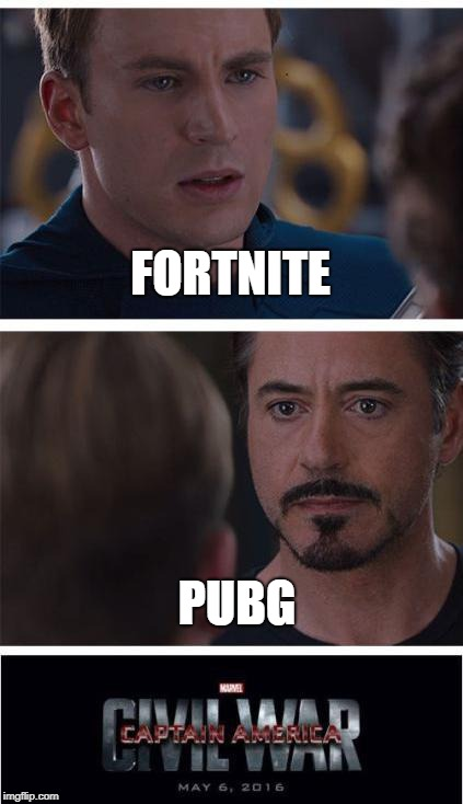 Marvel Civil War 1 Meme | FORTNITE PUBG | image tagged in memes,marvel civil war 1 | made w/ Imgflip meme maker