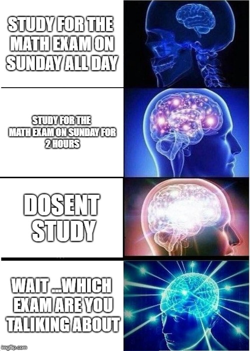 Expanding Brain Meme | STUDY FOR THE MATH EXAM ON SUNDAY ALL DAY STUDY FOR THE MATH EXAM ON SUNDAY FOR 2 HOURS DOSENT STUDY WAIT ...WHICH EXAM ARE YOU TALIKING ABO | image tagged in memes,expanding brain | made w/ Imgflip meme maker