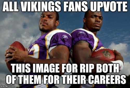 Viking Dudes | ALL VIKINGS FANS UPVOTE THIS IMAGE FOR RIP BOTH OF THEM FOR THEIR CAREERS | image tagged in memes,viking dudes | made w/ Imgflip meme maker