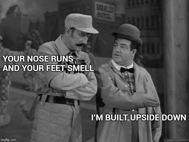 When you don't read the instructions |  YOUR NOSE RUNS AND YOUR FEET SMELL; I'M BUILT UPSIDE DOWN | image tagged in abbott and costello,bodybuilding,old joke,runner | made w/ Imgflip meme maker