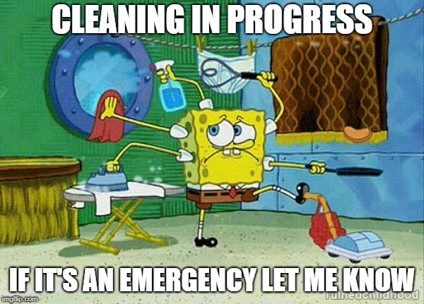 CLEANING IN PROGRESS IF IT'S AN EMERGENCY LET ME KNOW | image tagged in spongebob cleaning | made w/ Imgflip meme maker