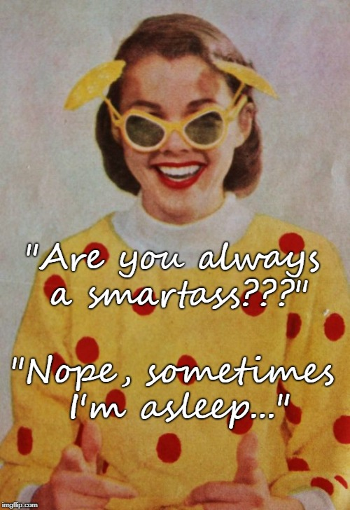 "Are you??? | ""Are you always a smartass???"" ""Nope, sometimes I'm asleep..."" 