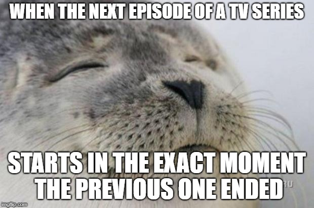 Happy Seal | WHEN THE NEXT EPISODE OF A TV SERIES STARTS IN THE EXACT MOMENT THE PREVIOUS ONE ENDED | image tagged in happy seal,AdviceAnimals | made w/ Imgflip meme maker