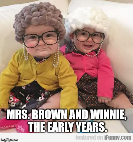 Best Friends  | MRS. BROWN AND WINNIE, THE EARLY YEARS. | image tagged in friends | made w/ Imgflip meme maker