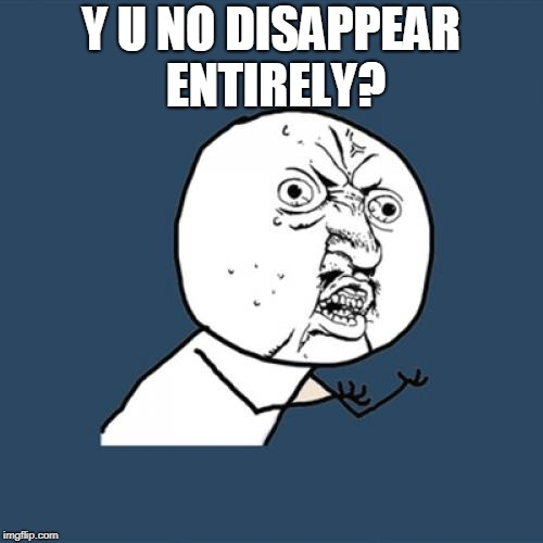 Y U No Meme | Y U NO DISAPPEAR ENTIRELY? | image tagged in memes,y u no | made w/ Imgflip meme maker