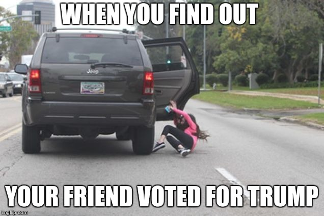 Kicked Out of Car | WHEN YOU FIND OUT YOUR FRIEND VOTED FOR TRUMP | image tagged in kicked out of car | made w/ Imgflip meme maker