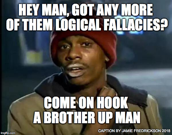 Y'all Got Any More Of That Meme | HEY MAN, GOT ANY MORE OF THEM LOGICAL FALLACIES? COME ON HOOK A BROTHER UP MAN CAPTION BY JAMIE FREDRICKSON 2018 | image tagged in memes,y'all got any more of that | made w/ Imgflip meme maker