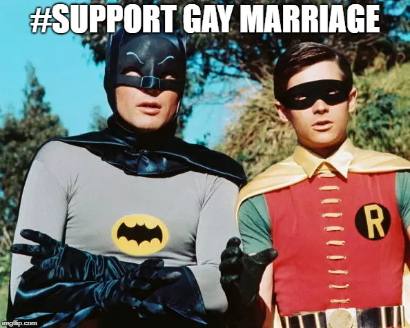 Gay Bootman and Bluejay | #SUPPORT GAY MARRIAGE | image tagged in batman,gay,gay marriage,dc comics,robin,dc | made w/ Imgflip meme maker