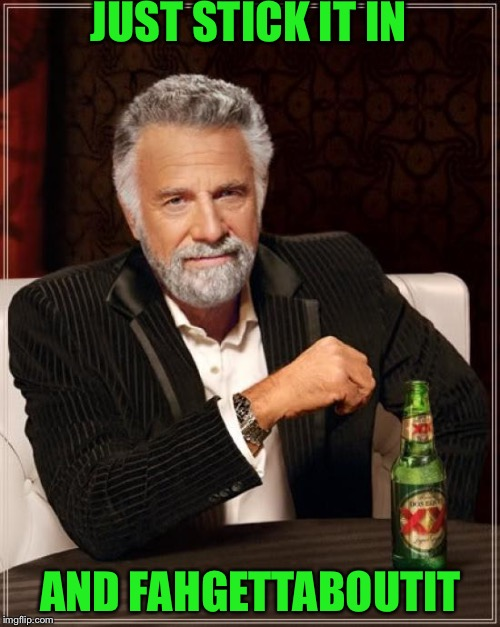 The Most Interesting Man In The World Meme | JUST STICK IT IN AND FAHGETTABOUTIT | image tagged in memes,the most interesting man in the world | made w/ Imgflip meme maker