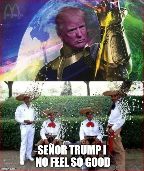 Trump Thanos | SEÑOR TRUMP I NO FEEL SO GOOD | image tagged in trump thanos | made w/ Imgflip meme maker