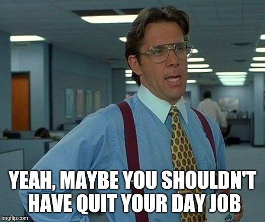 That Would Be Great Meme | YEAH, MAYBE YOU SHOULDN'T HAVE QUIT YOUR DAY JOB | image tagged in memes,that would be great | made w/ Imgflip meme maker