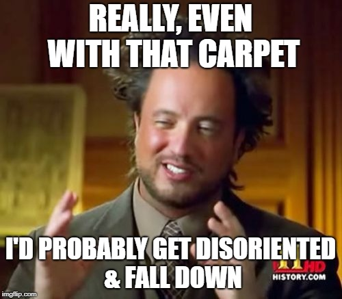 Ancient Aliens Meme | REALLY, EVEN WITH THAT CARPET I'D PROBABLY GET DISORIENTED & FALL DOWN | image tagged in memes,ancient aliens | made w/ Imgflip meme maker