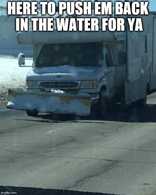 camping | HERE TO PUSH EM BACK IN THE WATER FOR YA | image tagged in camping | made w/ Imgflip meme maker