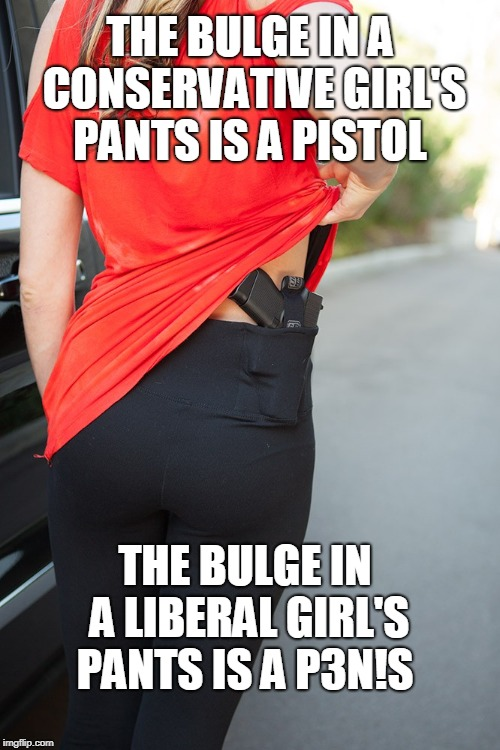 Untitled  | THE BULGE IN A CONSERVATIVE GIRL'S PANTS IS A PISTOL THE BULGE IN A LIBERAL GIRL'S PANTS IS A P3N!S | image tagged in liberals vs conservatives,pistol,carry on,girls with guns,memes | made w/ Imgflip meme maker