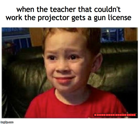 That look you get | when the teacher that couldn't work the projector gets a gun license .................. | image tagged in teachers,guns,classroom | made w/ Imgflip meme maker
