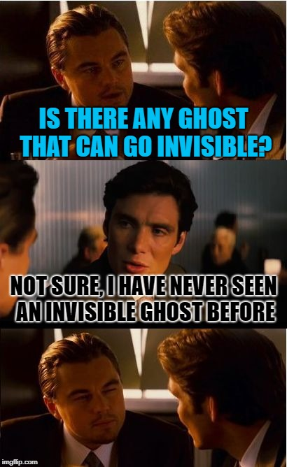 Inception Meme | IS THERE ANY GHOST THAT CAN GO INVISIBLE? NOT SURE, I HAVE NEVER SEEN AN INVISIBLE GHOST BEFORE | image tagged in memes,inception | made w/ Imgflip meme maker