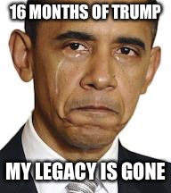 Obama crying | 16 MONTHS OF TRUMP MY LEGACY IS GONE | image tagged in obama crying | made w/ Imgflip meme maker
