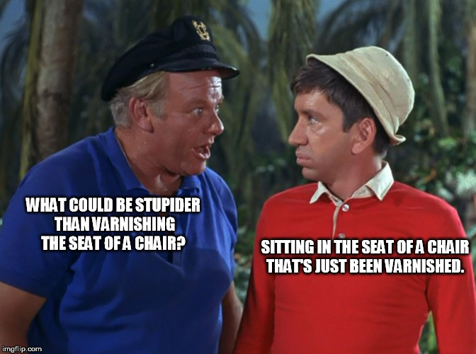 WHAT COULD BE STUPIDER THAN VARNISHING THE SEAT OF A CHAIR? SITTING IN THE SEAT OF A CHAIR THAT'S JUST BEEN VARNISHED. | image tagged in gilligan | made w/ Imgflip meme maker