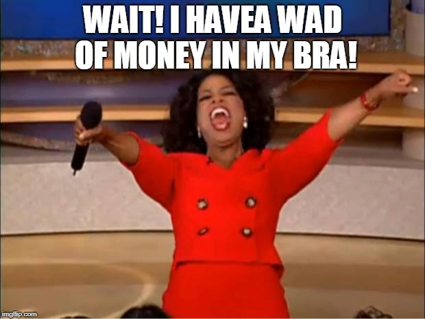 Oprah You Get A Meme | WAIT! I HAVEA WAD OF MONEY IN MY BRA! | image tagged in memes,oprah you get a | made w/ Imgflip meme maker