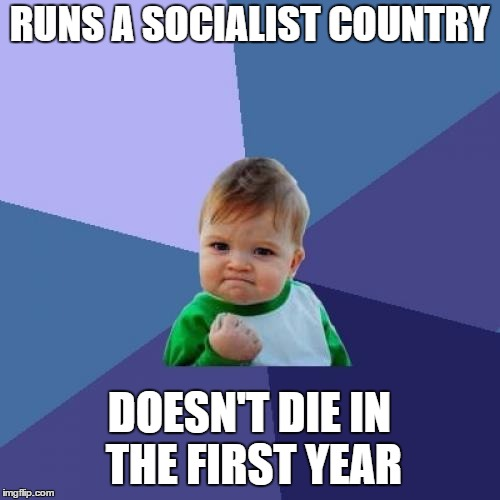 Success Kid Meme | RUNS A SOCIALIST COUNTRY DOESN'T DIE IN THE FIRST YEAR | image tagged in memes,success kid | made w/ Imgflip meme maker