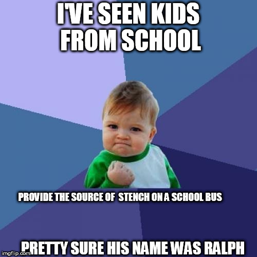 Success Kid Meme | I'VE SEEN KIDS FROM SCHOOL PROVIDE THE SOURCE OF  STENCH ON A SCHOOL BUS PRETTY SURE HIS NAME WAS RALPH | image tagged in memes,success kid | made w/ Imgflip meme maker