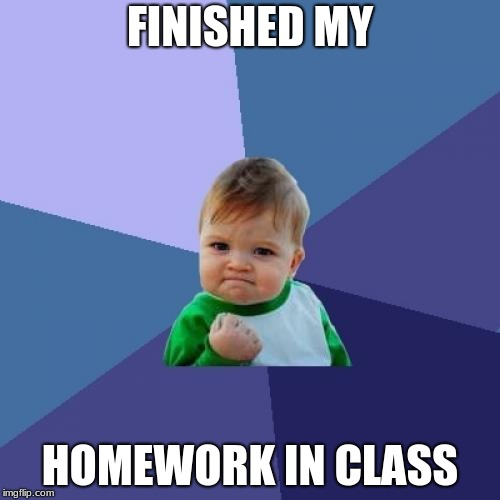 Success Kid Meme | FINISHED MY HOMEWORK IN CLASS | image tagged in memes,success kid | made w/ Imgflip meme maker