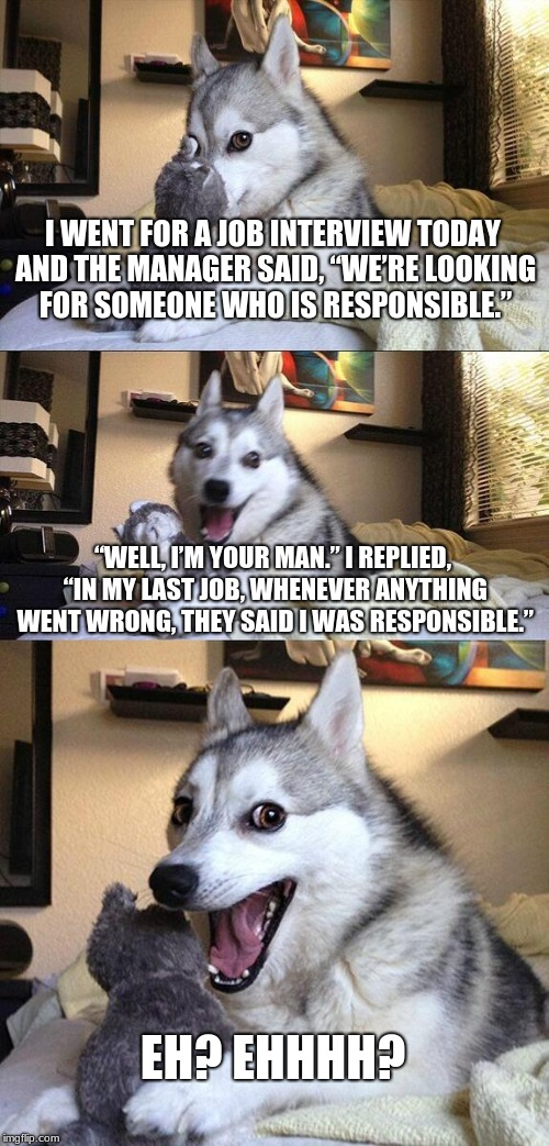 "Bad Pun Dog Meme | I WENT FOR A JOB INTERVIEW TODAY AND THE MANAGER SAID, ""WE'RE LOOKING FOR SOMEONE WHO IS RESPONSIBLE."" ""WELL, I'M YOUR MAN."" I REPLIED, ""IN  
