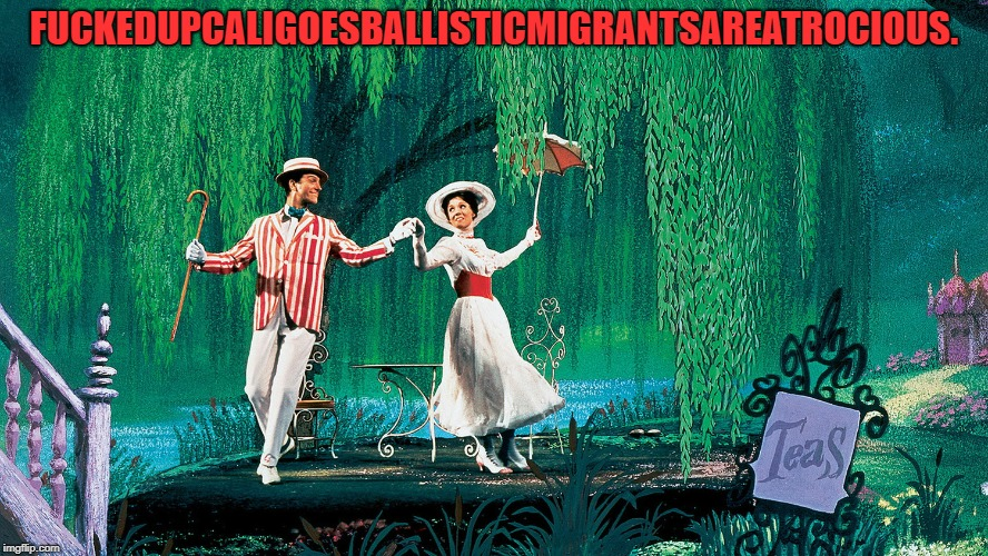 F**KEDUPCALIGOESBALLISTICMIGRANTSAREATROCIOUS. | image tagged in mary poppins | made w/ Imgflip meme maker
