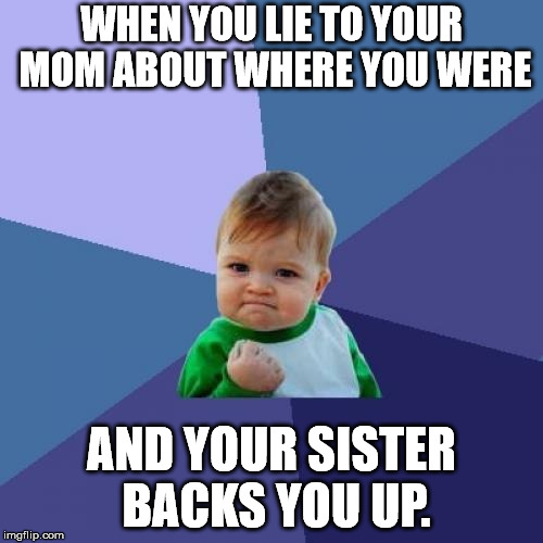 Didn't even have to ask her to. | WHEN YOU LIE TO YOUR MOM ABOUT WHERE YOU WERE AND YOUR SISTER BACKS YOU UP. | image tagged in memes,success kid | made w/ Imgflip meme maker