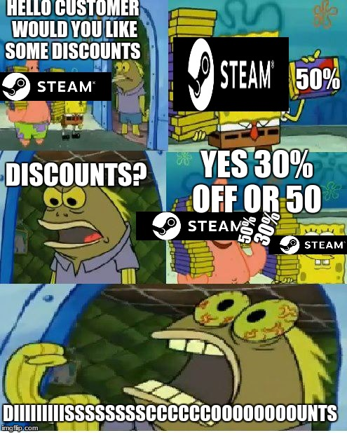 Chocolate Spongebob | HELLO CUSTOMER WOULD YOU LIKE SOME DISCOUNTS 50% DISCOUNTS? YES 30% OFF OR 50 50% 30% DIIIIIIIIISSSSSSSSCCCCCCOOOOOOOOUNTS | image tagged in memes,chocolate spongebob | made w/ Imgflip meme maker