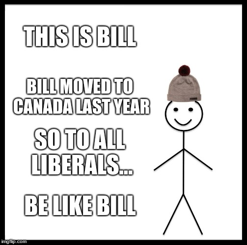 Be Like Bill Meme | THIS IS BILL BILL MOVED TO CANADA LAST YEAR SO TO ALL LIBERALS... BE LIKE BILL | image tagged in memes,be like bill | made w/ Imgflip meme maker