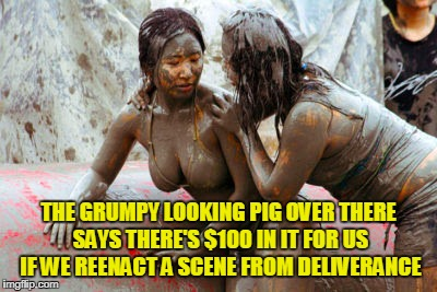 THE GRUMPY LOOKING PIG OVER THERE SAYS THERE'S $100 IN IT FOR US IF WE REENACT A SCENE FROM DELIVERANCE | made w/ Imgflip meme maker