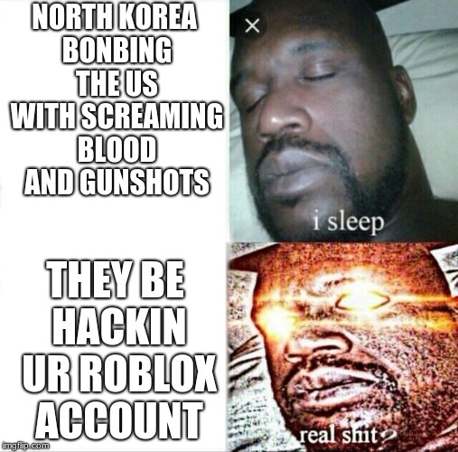 Sleeping Shaq Meme | NORTH KOREA BONBING THE US WITH SCREAMING BLOOD AND GUNSHOTS THEY BE HACKIN UR ROBLOX ACCOUNT | image tagged in memes,sleeping shaq | made w/ Imgflip meme maker