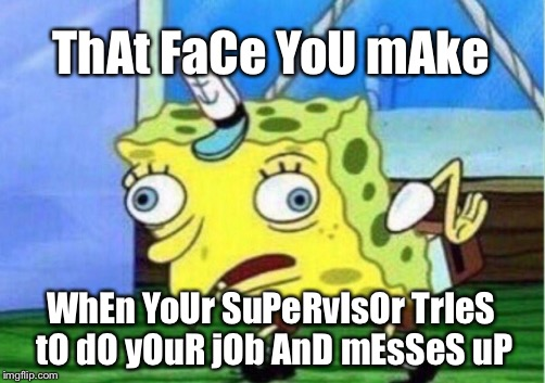 Mocking Spongebob Meme | ThAt FaCe YoU mAke WhEn YoUr SuPeRvIsOr TrIeS tO dO yOuR jOb AnD mEsSeS uP | image tagged in memes,mocking spongebob | made w/ Imgflip meme maker