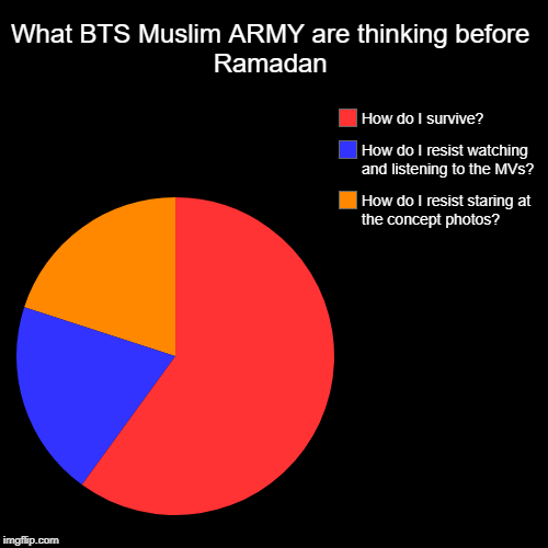 Muslim ARMY during Ramadan | What BTS Muslim ARMY are thinking before Ramadan | How do I resist staring at the concept photos?, How do I resist watching and listening to | image tagged in pie charts,bts,army,muslim,ramadan,survival | made w/ Imgflip pie chart maker