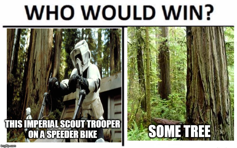Who Would Win? Meme | THIS IMPERIAL SCOUT TROOPER ON A SPEEDER BIKE SOME TREE | image tagged in memes,who would win | made w/ Imgflip meme maker