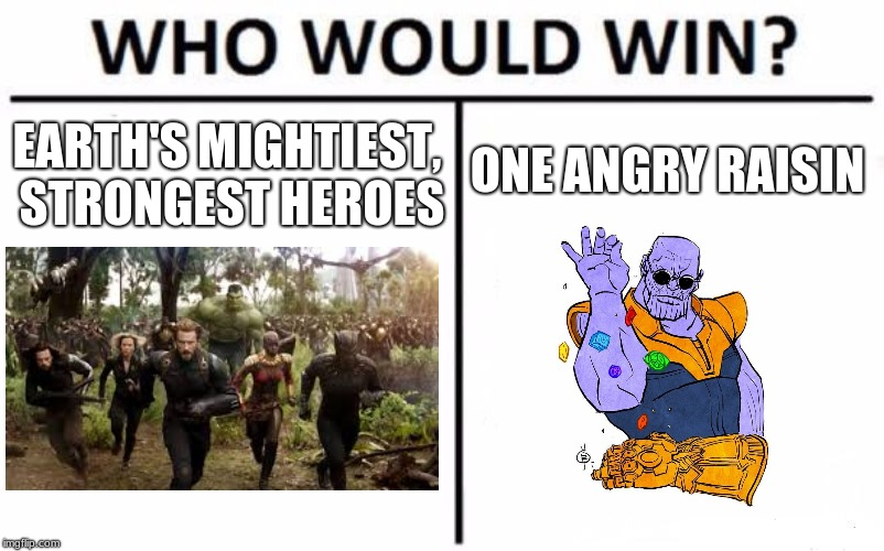 Who Would Win? Meme | EARTH'S MIGHTIEST, STRONGEST HEROES ONE ANGRY RAISIN | image tagged in memes,who would win,thanos,avengers infinity war,marvel,funny | made w/ Imgflip meme maker