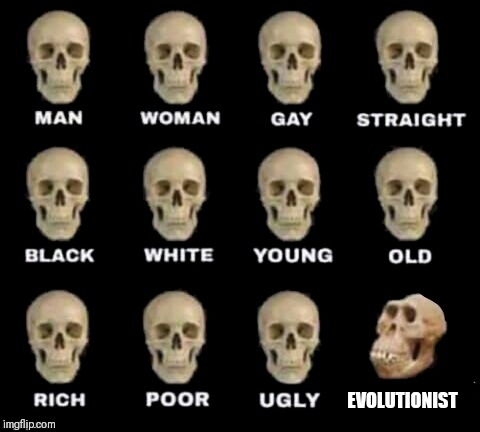 idiot skull | EVOLUTIONIST | image tagged in idiot skull,evolutionist,evolution,religion | made w/ Imgflip meme maker